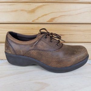 Worx by Red Wing 7.5M Brown Leather Lace-up Work Safety Oxford Shoe STYLE #5115